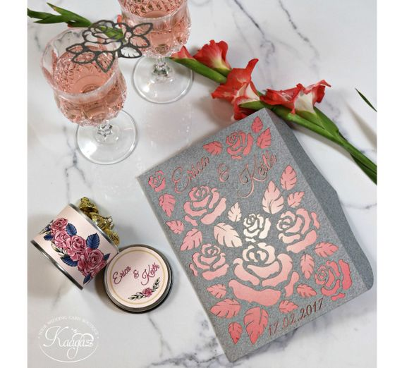 Photo of Rose theme wedding card with laser cut