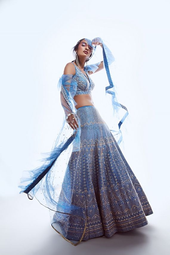 Photo of Powder blue lehenga for sister of the bride