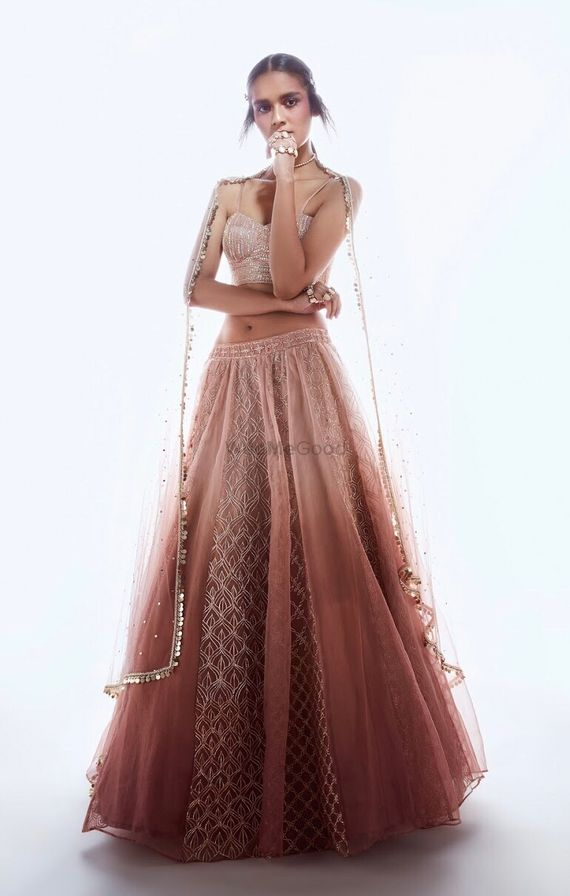 Photo of Light ombre engagement lehenga in beige