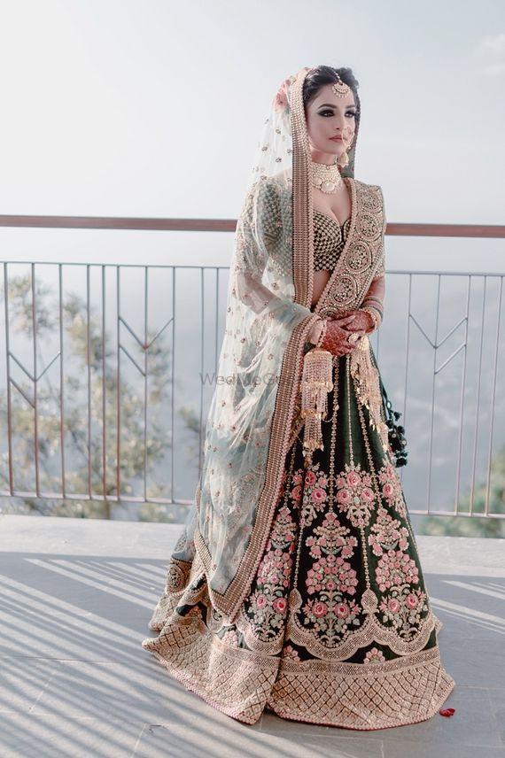 Photo of Offbeat bridal lehenga and look in teal lehenga