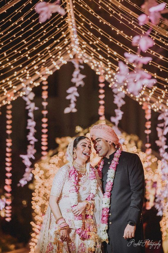 Photo of Wedding day happy couple shot with jaimala