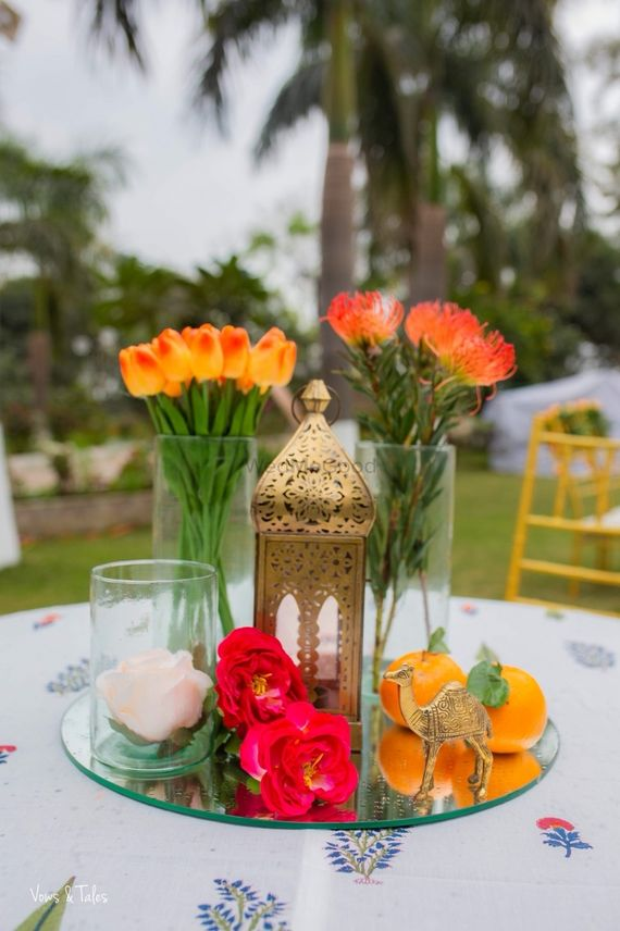 Photo of Mehendi decor centrepiece idea with mix and match elements