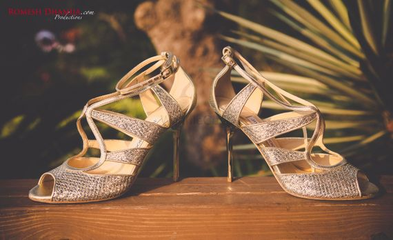 Photo of glittery bridal shoes