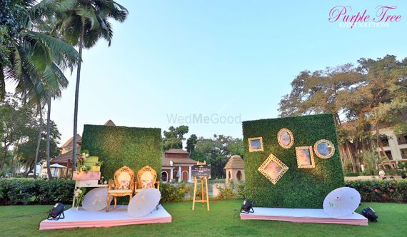 Photo of Photobooth decor with green ferns backdrop and gold