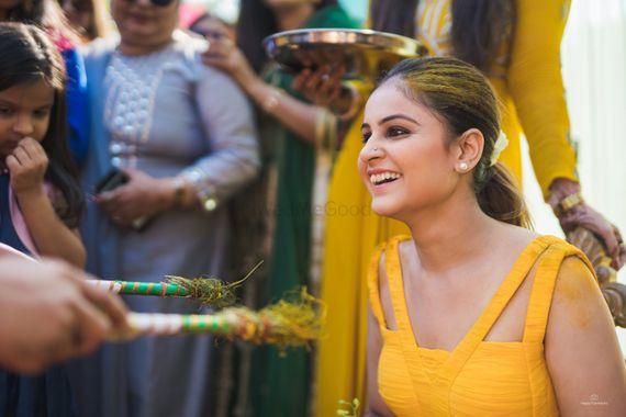 Photo of Bridal portrait at  haldi ceremony