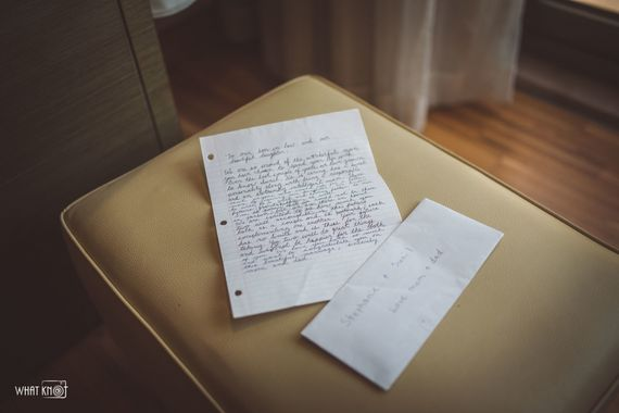 Photo of Brides letter for her father on her wedding day
