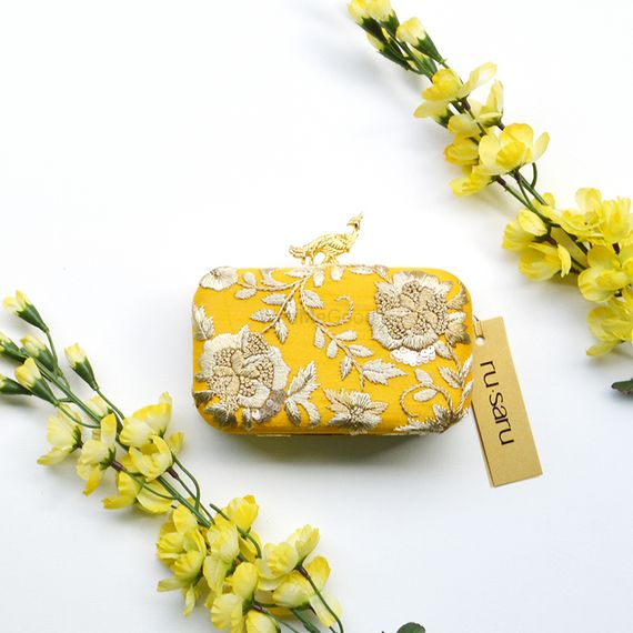 Yellow Accessories Photo Box clutch as mehendi giveaways