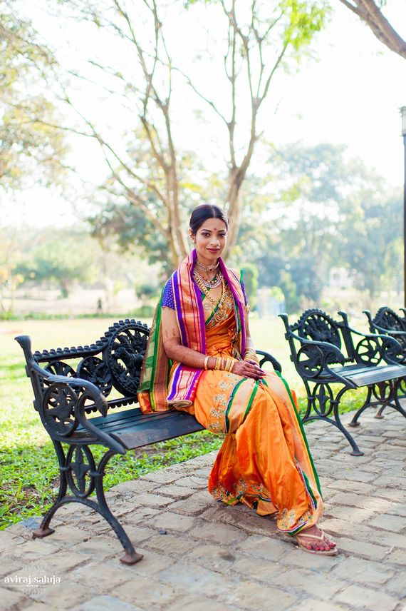 Photo of Orange, Green and Purple Kasta Saree