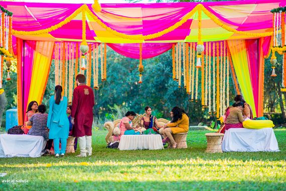 Photo of Pink and Yellow Themed Mehendi Decor