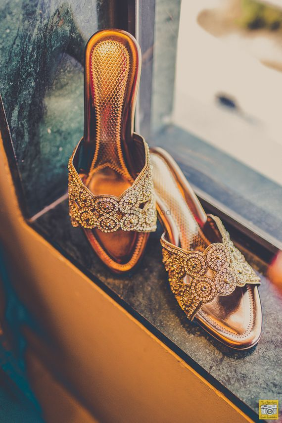 Photo of Glittery gold and diamond sandals