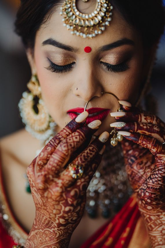 Photo of South indian bridal portrait getting ready