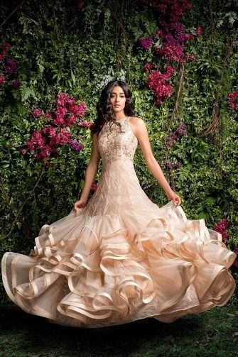 Photo of Ruffled gown by Shayamal and BHumika in eggshell
