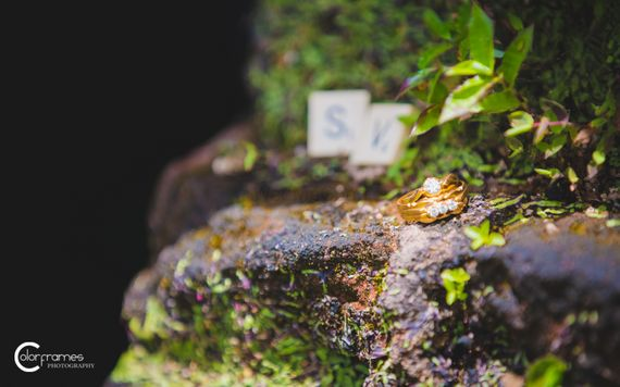 Photo of Engagement RIngs on Rocks with Monograms