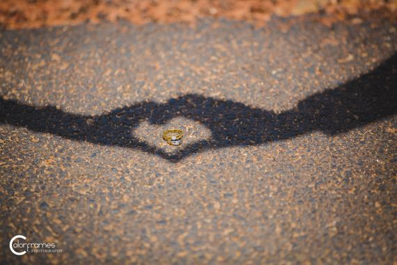 Photo of Engagement Ring Shot with Heart Shadow