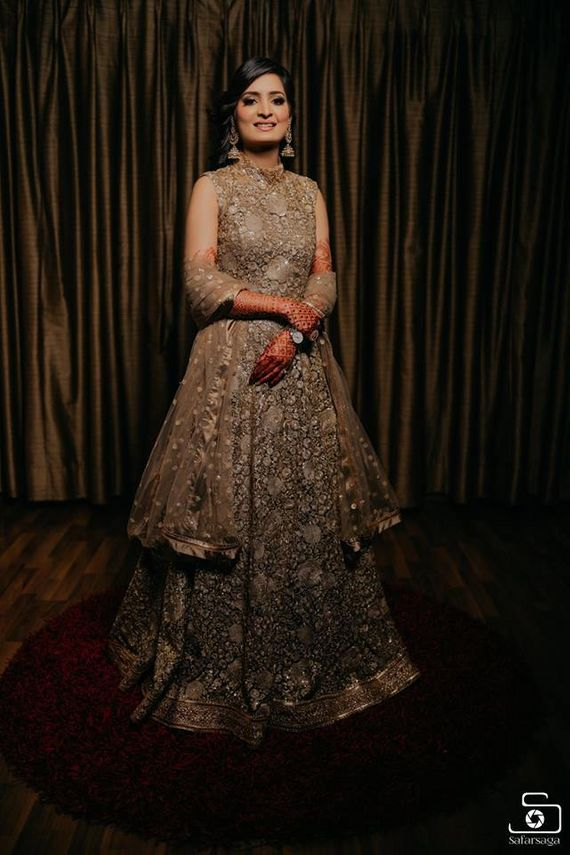 Photo of engagement outfit grey anarkali for bride to be