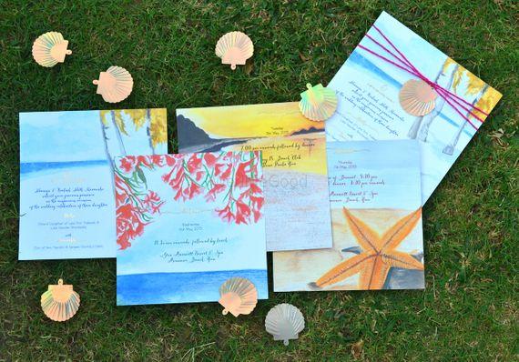 Photo of beach theme wedding invitations