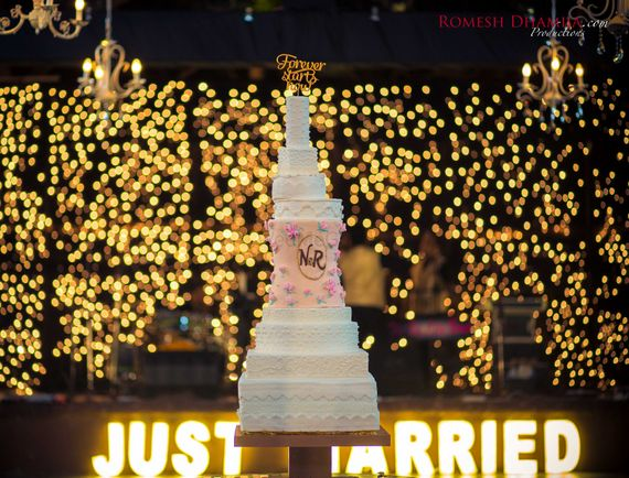 Photo of White and Pink 7 Tier Wedding Cake
