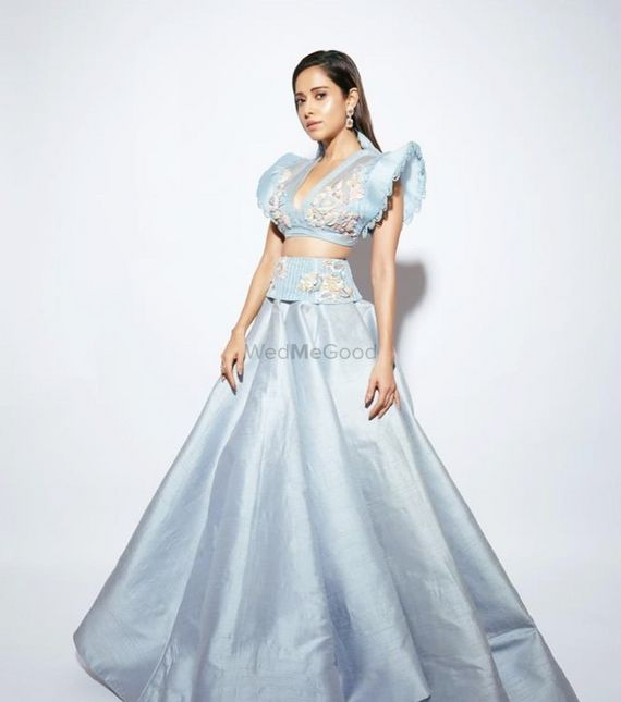 Photo of Light blue lehenga with a statement blouse.