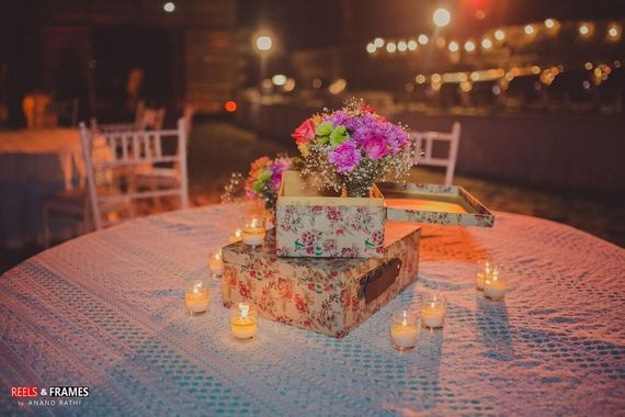 Photo of Flora Print Briefcase with Candles as Table Decor