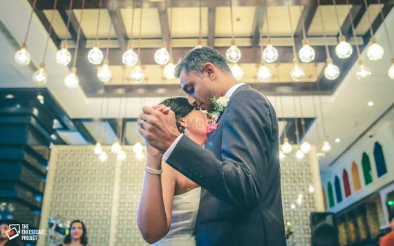 Photo of Christian wedding couple dancing portrait