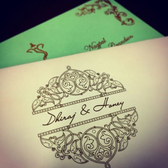 Photo of mint green and white invitation card