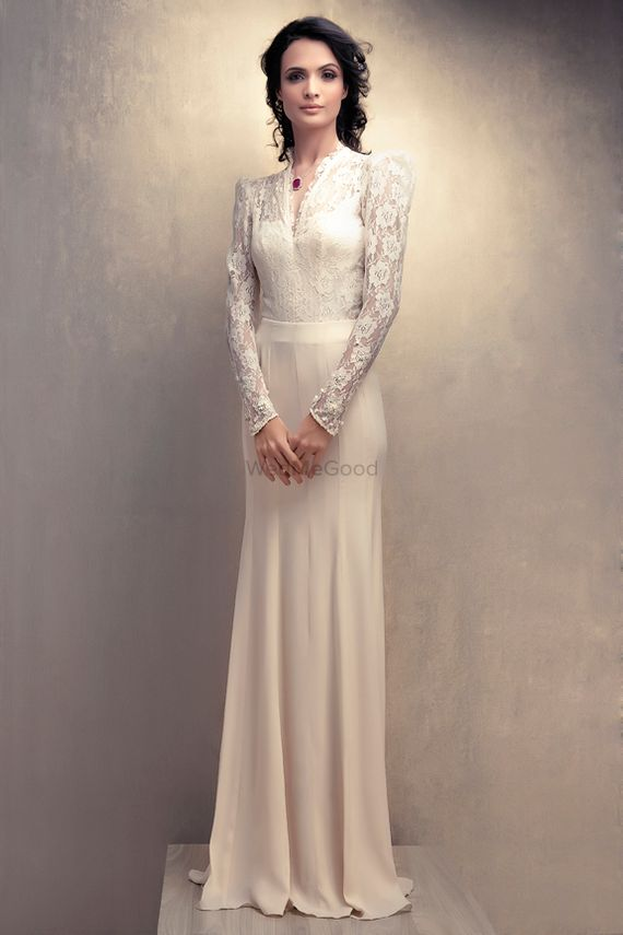 Photo of White Tissue Work Floor Length Gown