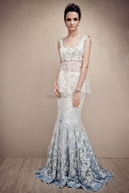 Photo of White and Ice Blue Fish Cut Gown