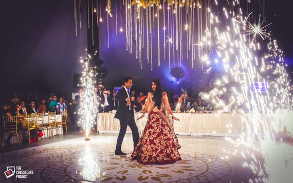 Photo of Fireworks During Bride and Groom Dance Performance