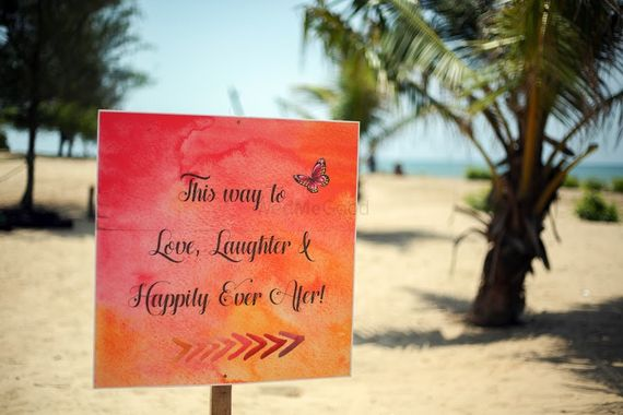 Photo of Personalised Wedding Message Board Decor at Beach
