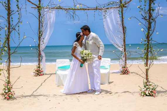 Photo of Rustic Beach Wedding Mandap with Simple Florals