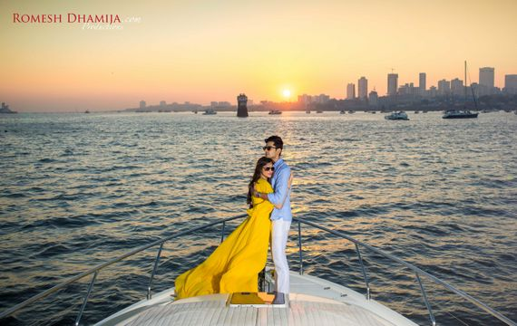 Photo of Pre wedding shoot in bombay on yacht