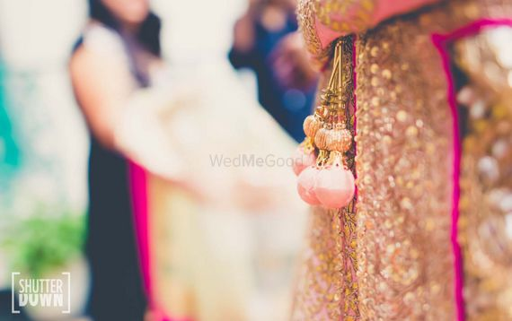 Photo of Light Pink Round Tassels on Sequin work Lehenga