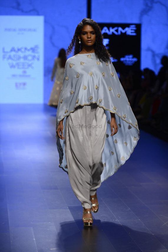 Photo of Light Grey Dhoti Pants and Cape Outfit