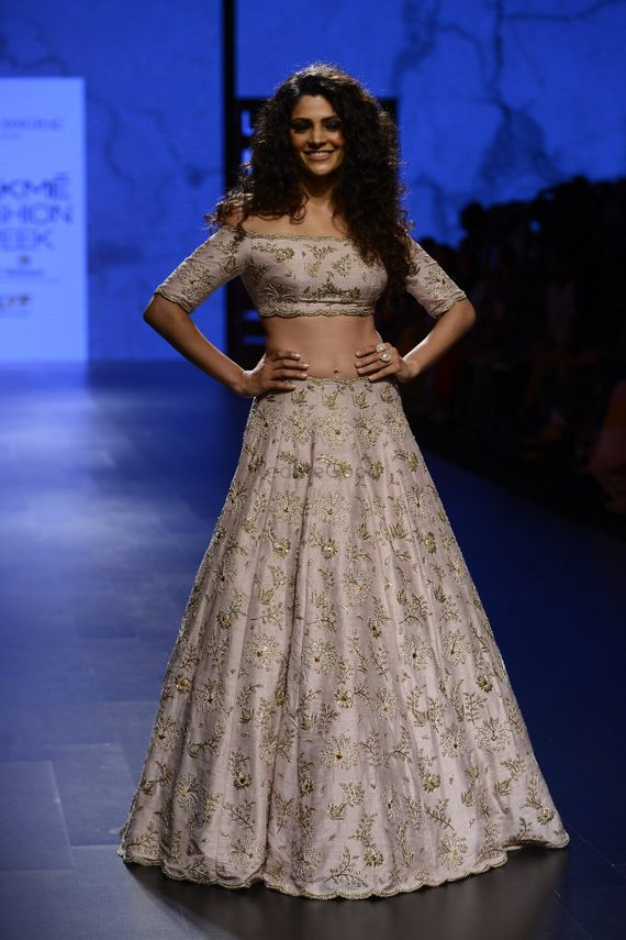 Photo of Light Grey Floral Thread Work Lehenga for Engagement