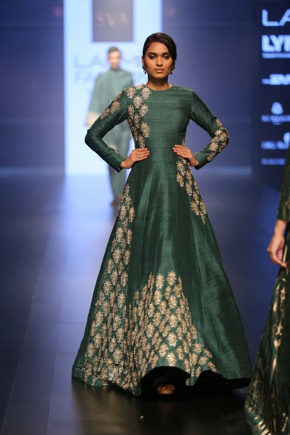 Photo of Teal Green Gown with Silver Zardozi Motifs