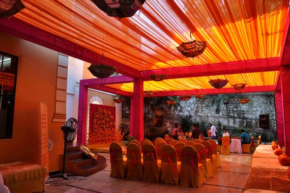 Photo of orange and pink rajasthani theme mehendi