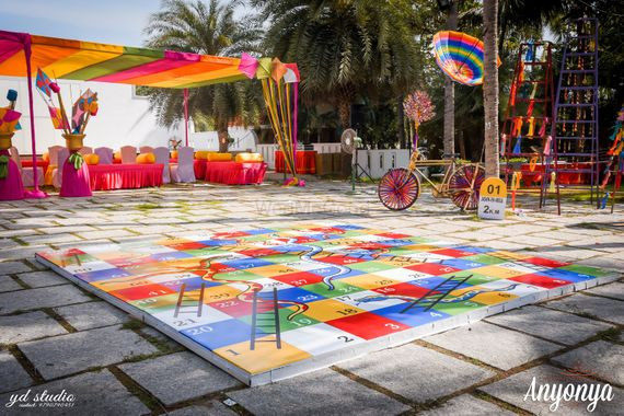 Photo of Giant Snakes and Ladder Game for Destination Wedding