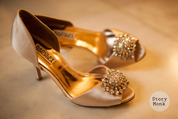Photo of Dull Gold Satin Heels with Golden Motifs