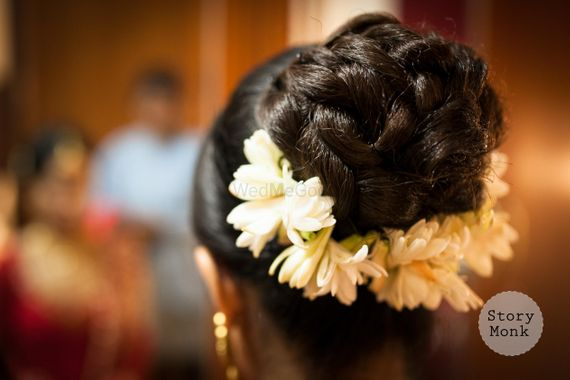 Photo of Bridal Bun with Mogra Flowers