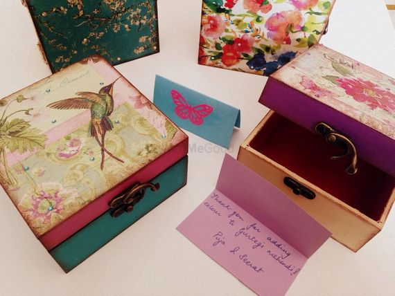 Photo of gift boxes with cardboard mdf