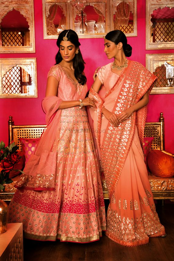 Photo of Peach and Pink Saree and Anarkali for Engagement