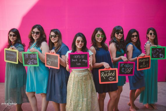 Photo of Fun Bachelorette photo with chalkboards