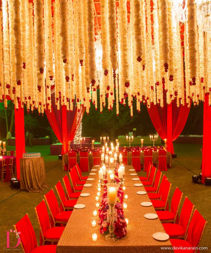 Red Chandelier India: Hanging Flowers From Ceiling