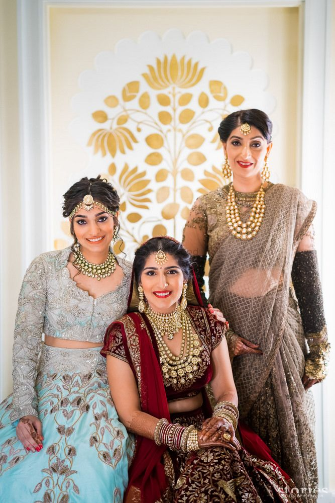Indian family portrait at wedding