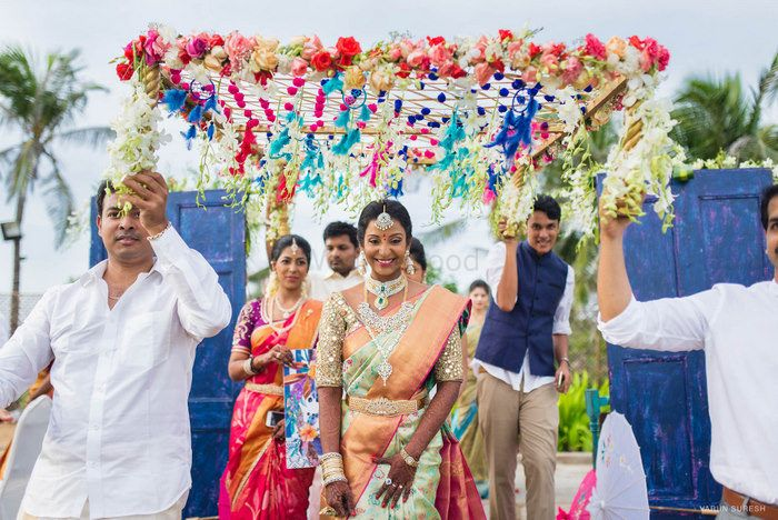 Pretty Kanjeevaram Colour Combinations Worn by Real Brides!