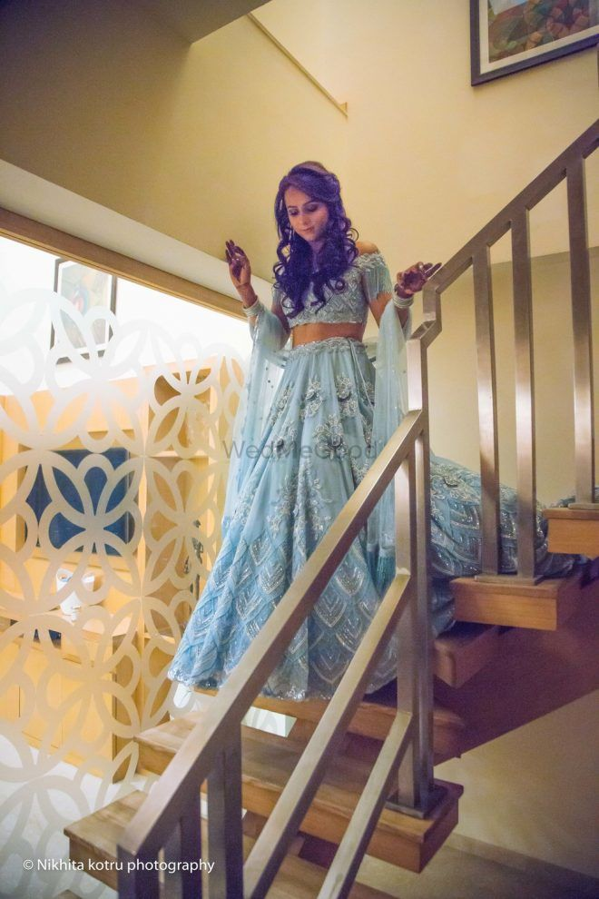 Pretty Delhi Engagement With A Bride In A Beautiful Powder Blue Concoction!