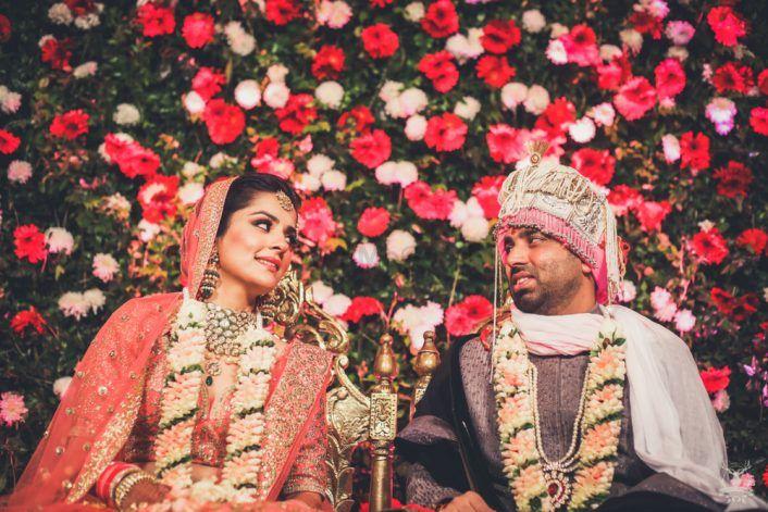 An Elegant Delhi Wedding With A Bride In A Stunning Coral Lehenga