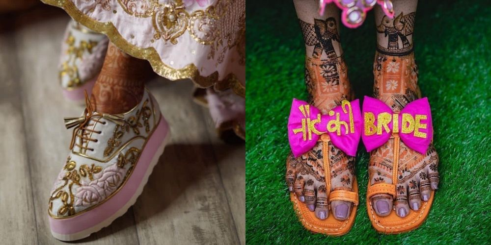 The Quirkiest Mehendi Footwear We Spotted On Real Brides & Where To Get 'Em!