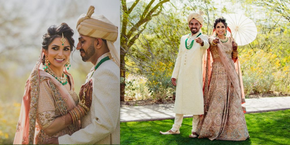 A Charming Desert Wedding With Striking Decor And A Bride In Shell Pink!