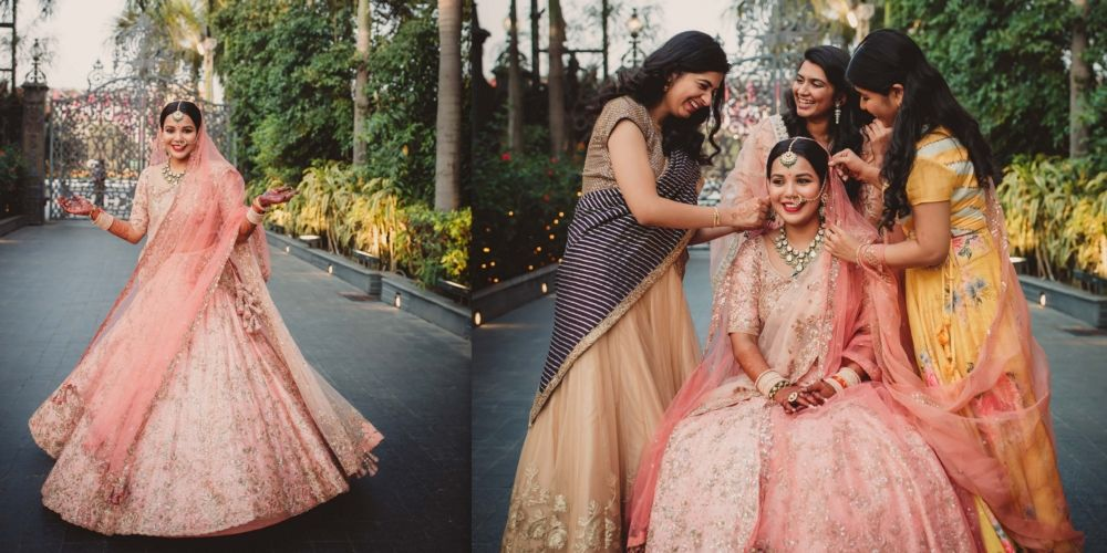 A Pretty Wedding With The Bride In A Shimmery Pastel Pink Lehenga